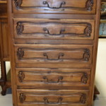 French Walnut Chest of 5 Drawers